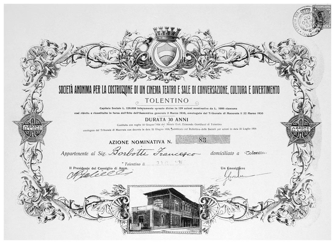 Una delle azioni della Società istituita per costruire il Politeama Piceno