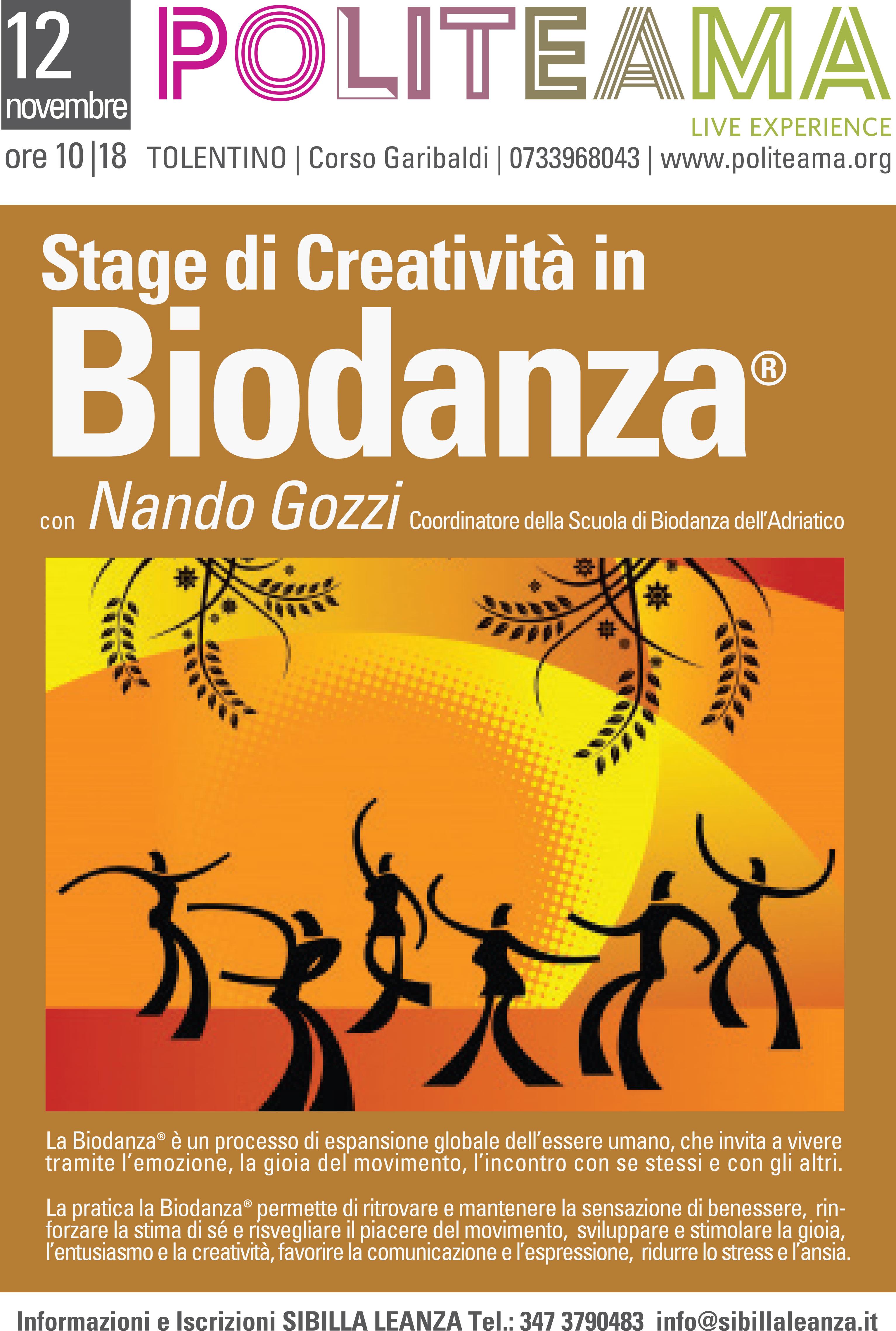Locandina - Stage di Creatività in Biodanza® con Nando Gozzi