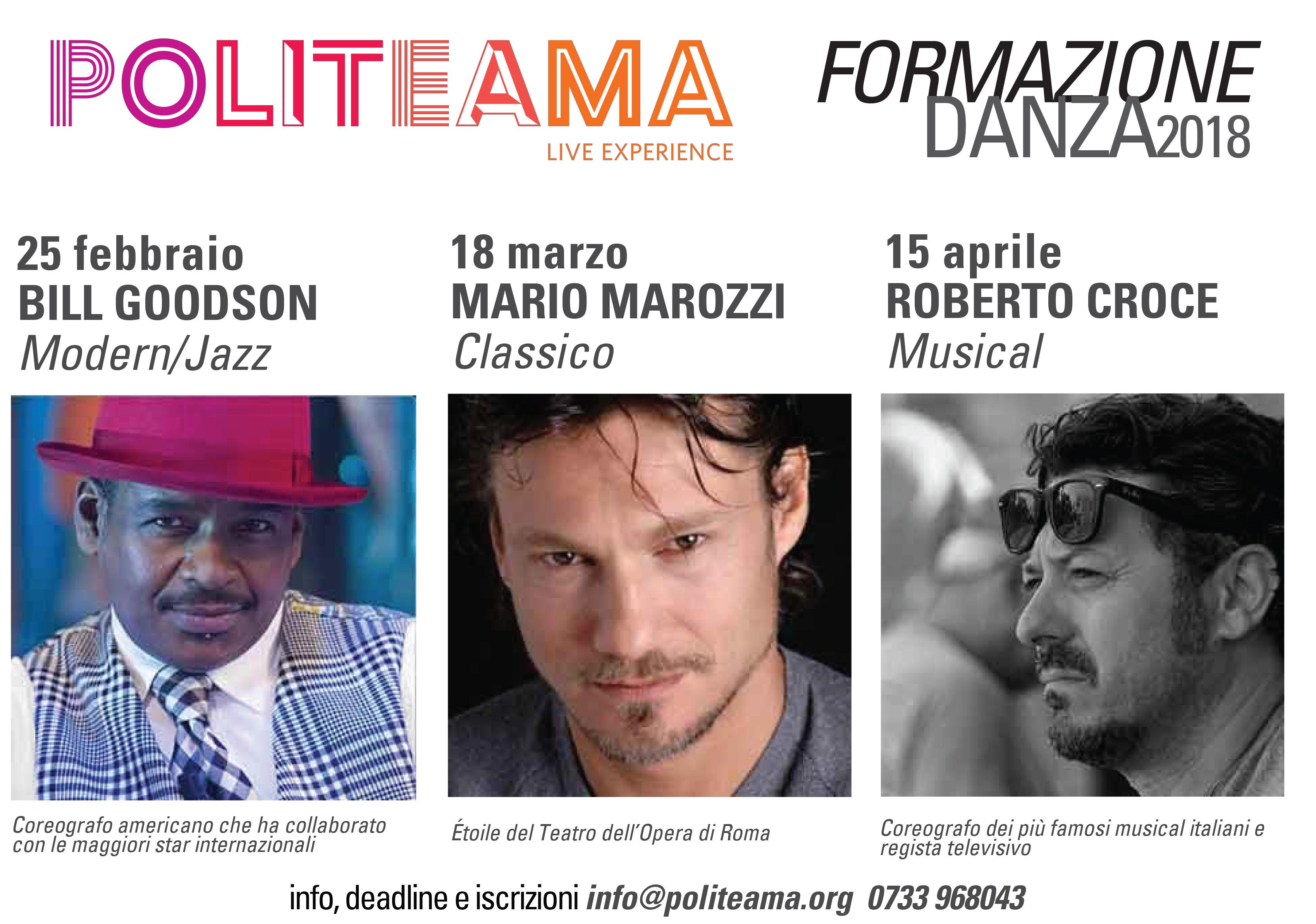 Locandina - Stage di Modern/Jazz con Bill Goodson – Formazione Danza 2018