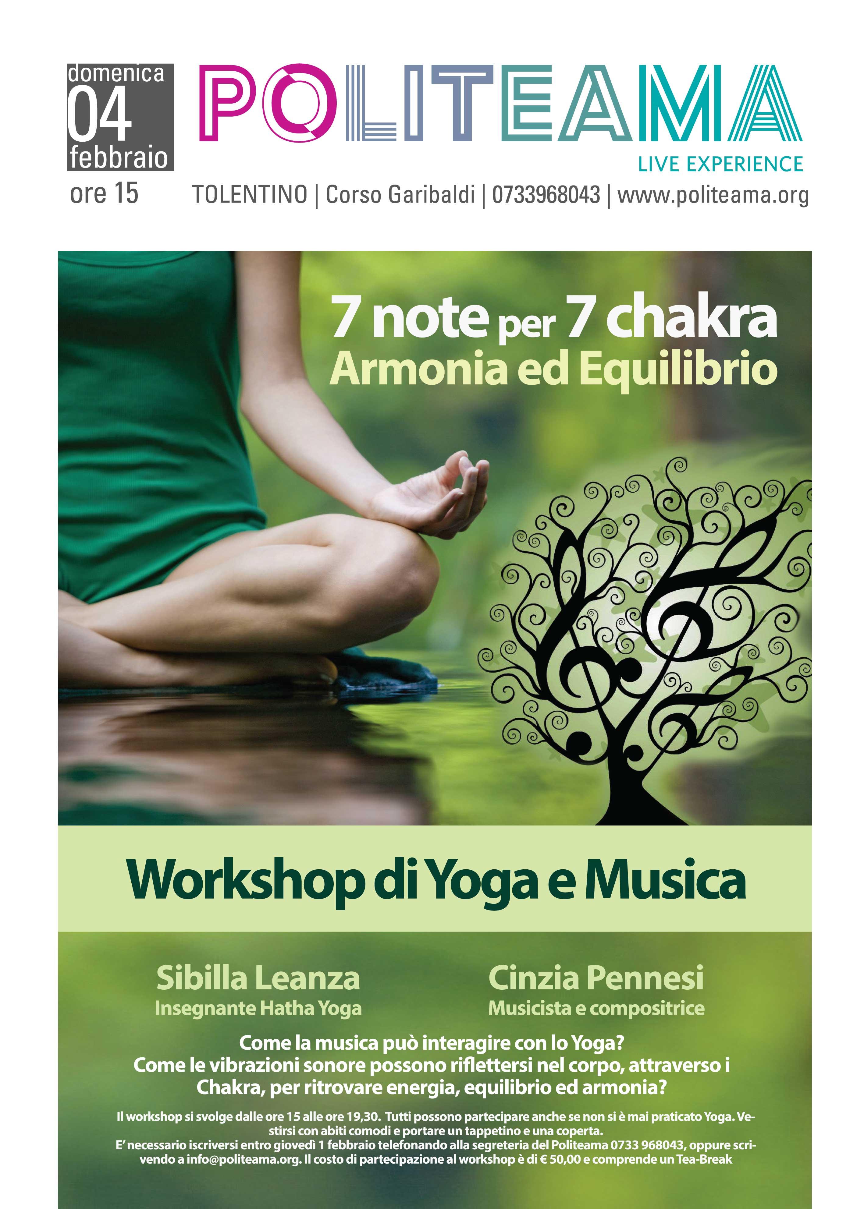 Locandina - 7 note per 7 chakra Armonia ed Equilibrio – WORKSHOP DI YOGA E MUSICA