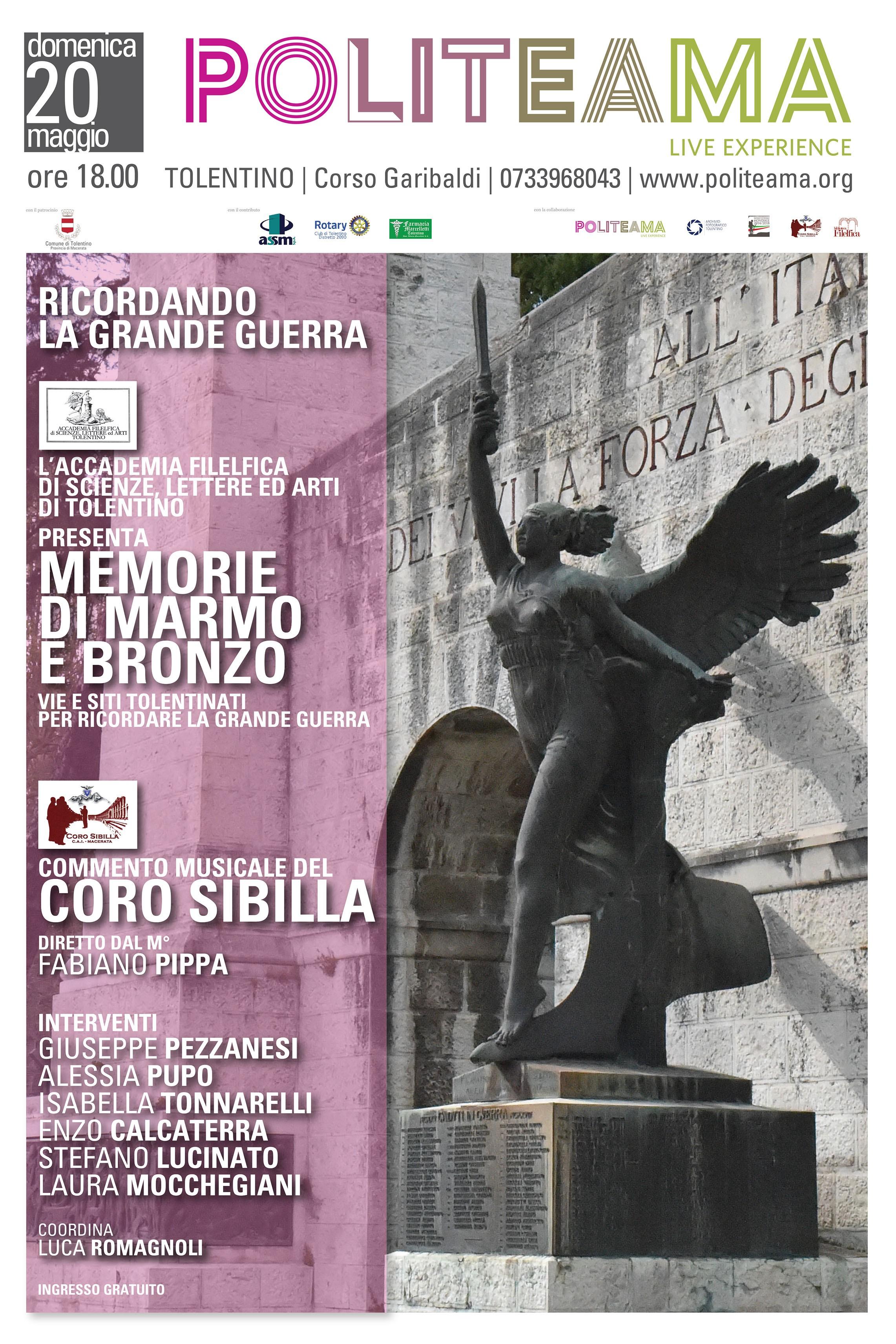 """Locandina - Presentazione del libro """"Memorie di marmo e bronzo"""" a cura dell'Accademia Filelfica di Tolentino"""